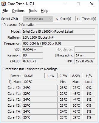 CoreTemp screenshot