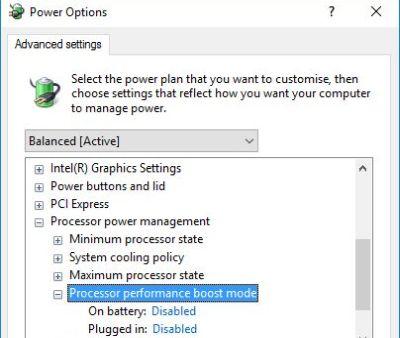 Processor Performance Boost Mode Tweaker screenshot