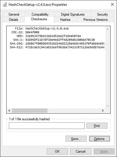 HashCheck screenshot