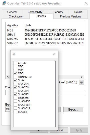 OpenHashTab screenshot