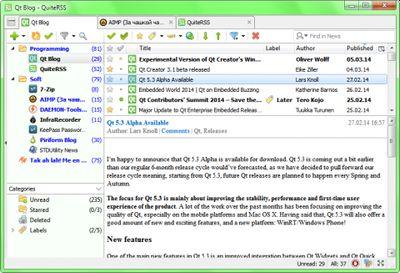 QuiteRSS screenshot