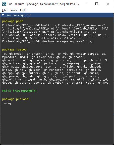 GeeXLab - Lua package lib