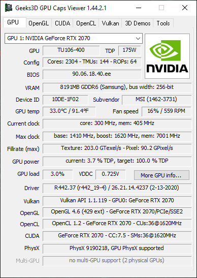GPU Caps Viewer - NVIDIA 442.37 + RTX 2070 + Vulkan 1.1.119