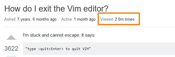 Congratulations: StackOverflow helped 2 million people to exit Vim
