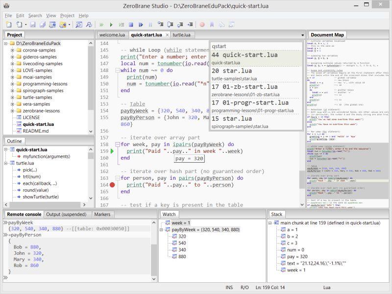 ZeroBrane Studio + Lua debugging