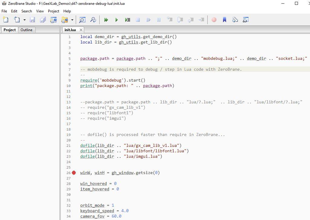 ZeroBrane - GeeXLab demo INIT script