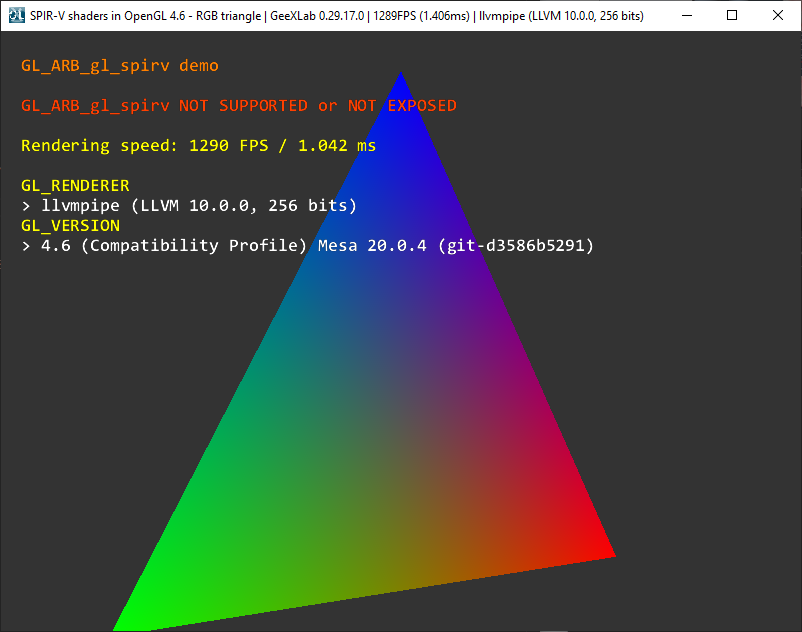 Mesa3D 20.0.4 - OpenGL 4.6 test with GeeXLab