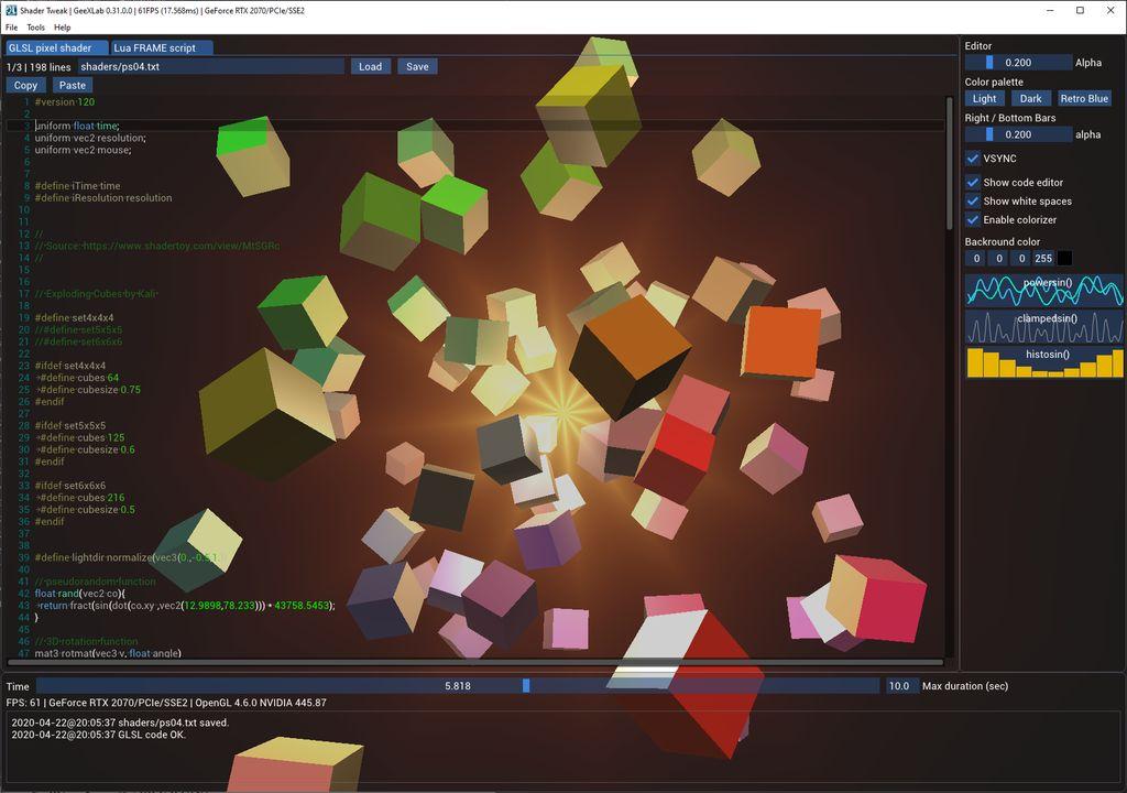 GeeXLab - Shader Tweak - GLSL live coding