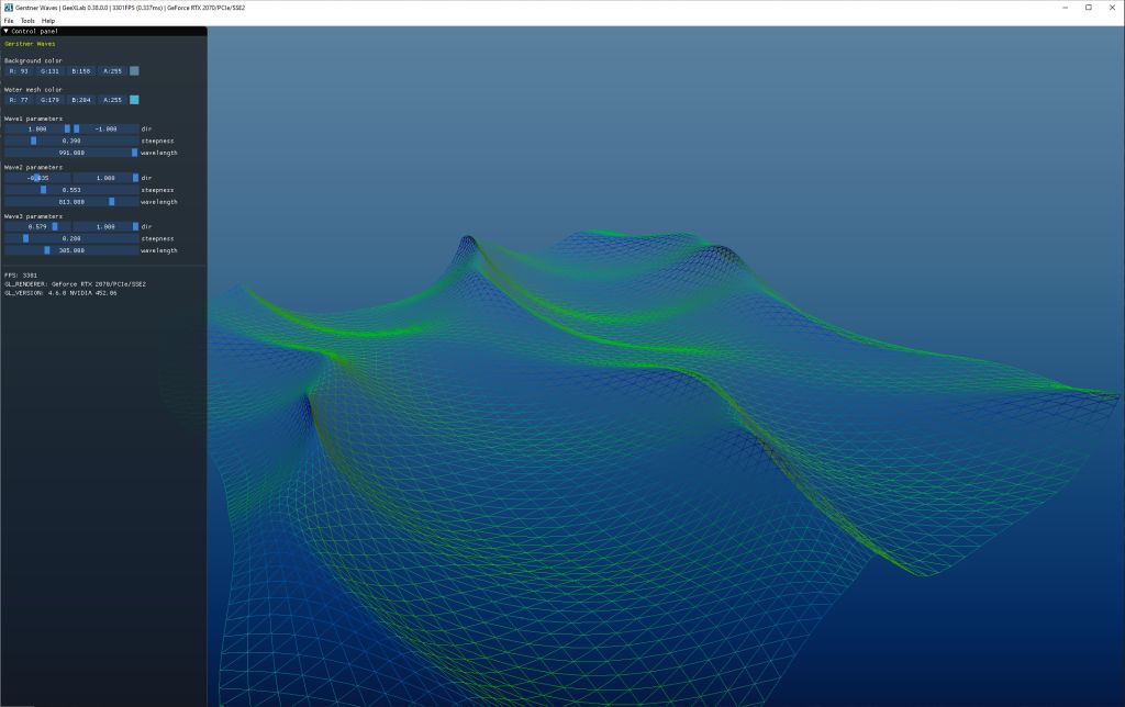 GeeXLab demo - Gerstner waves