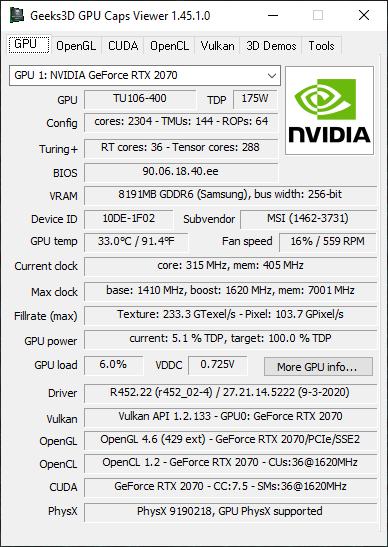 NVIDIA GeForce 452.22 + GPU Caps Viewer + GeForce RTX 2070