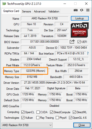GPU-Z - Radeon RX 5700 + memory vendor